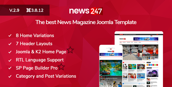 News247 - News/Magazine Newspaper Joomla Template - Blog / Magazine Joomla