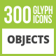 300 Objects Glyph Inverted Icons - GraphicRiver Item for Sale