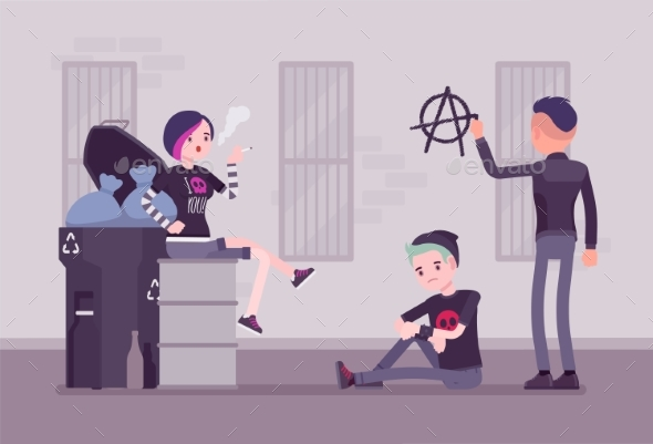 Goths and Punks Subculture Street Life - People Characters