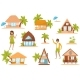 Summer Beach Houses Set, People Enjoying Tropical - GraphicRiver Item for Sale