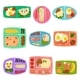 Flat Vector Set of Plastic Lunch Boxes with Food - GraphicRiver Item for Sale