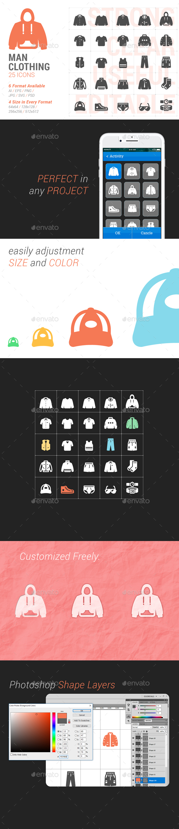 Man Clothing Filled Icon - Objects Icons