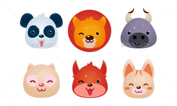 Heads of Animals Set, Bear, Face of Panda - Animals Characters