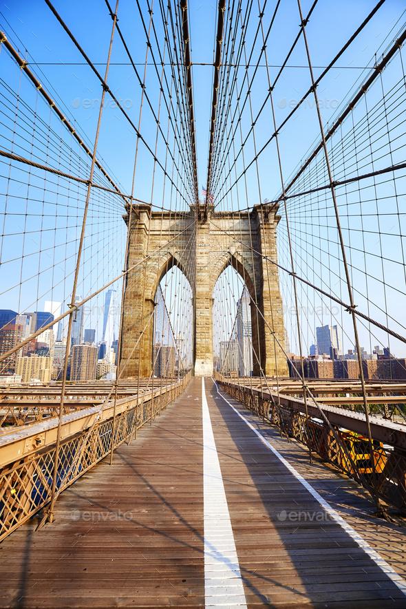 Brooklyn Bridge at sunrise, New York. - Stock Photo - Images