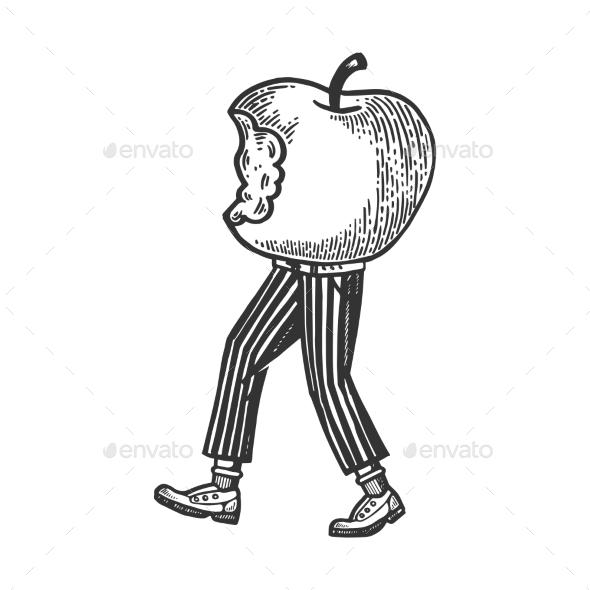 Bitten Apple Walks on Its Feet Engraving Vector - Miscellaneous Vectors