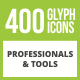 400 Professionals & their tools Glyph Inverted Icons