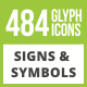 484 Signs & Symbols Glyph Inverted Icons - GraphicRiver Item for Sale