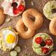 variety of sandwiches on bagels: egg, avocado, ham, tomato, soft - PhotoDune Item for Sale