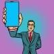 Businessman Shows a Smartphone