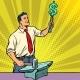 Businessman Blacksmith Forges Money on the Anvil