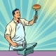 Cook Blacksmith Forges a Burger on the Anvil - GraphicRiver Item for Sale