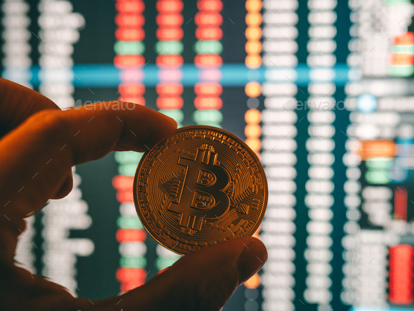 cryptocurrency and stock market business concept - Stock Photo - Images
