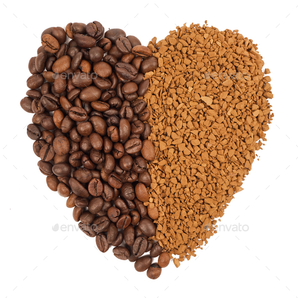Coffee grains, instant coffee - Stock Photo - Images