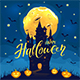 Happy Halloween with Castle and Happy Pumpkins - GraphicRiver Item for Sale