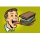 Man with Books in a Long Tongue - GraphicRiver Item for Sale