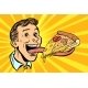 Man with Pizza on Long Tongue