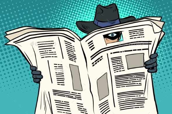 Spy Watches Through the Newspaper - People Characters