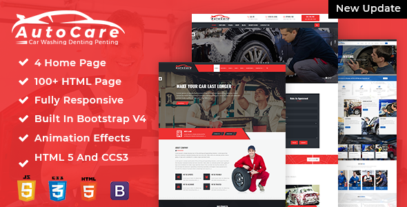 AutoCare: Car Service, Car Washing and Denting and Painting Html Template - Corporate Site Templates