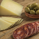 Spanish Manchego cheese, Chorizo sausage and olives - PhotoDune Item for Sale