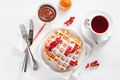 breakfast with waffle, berry, jam, chocolate spread and tea. Top - PhotoDune Item for Sale