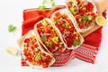 mexican beef and pork tacos with salsa, guacamole and vegetables - PhotoDune Item for Sale