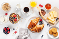 healthy breakfast with granola, berry, nuts, croissant, jam, cho - PhotoDune Item for Sale