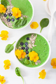 green spinach smoothie bowl with blueberry, chia seed and edible - PhotoDune Item for Sale