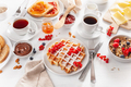 breakfast with granola berry nuts, waffle, toast,  jam, chocolat - PhotoDune Item for Sale