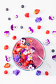 healthy summer berry smoothie bowl with flowers and chia seed - PhotoDune Item for Sale