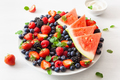 fruit and berry platter with yogurt over white. blueberry, straw - PhotoDune Item for Sale