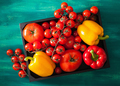 assorted tomatoes and bell peppers in wooden box - PhotoDune Item for Sale