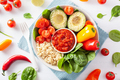 vegan buddha bowl. healthy lunch bowl with avocado, tomato, bell - PhotoDune Item for Sale