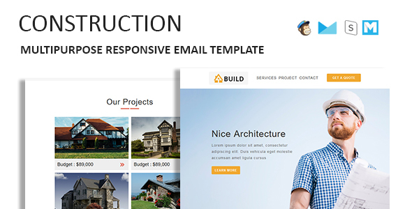Construction - Multipurpose Responsive Email Template With Online StampReady Builder Access - Newsletters Email Templates