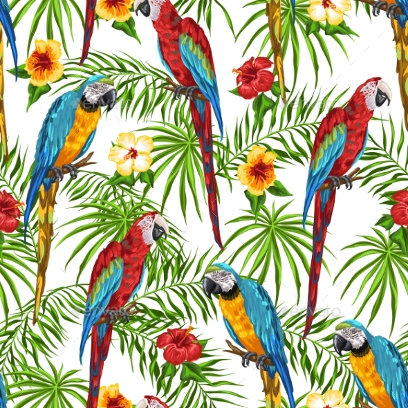 Tropical Seamless Pattern with Parrots - Animals Characters