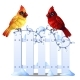 Two Northern Cardinal Birds Sit on a Snowy Fence - GraphicRiver Item for Sale