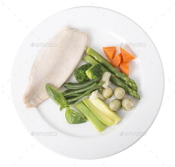Steamed trout fillet with vegetables. - Stock Photo - Images