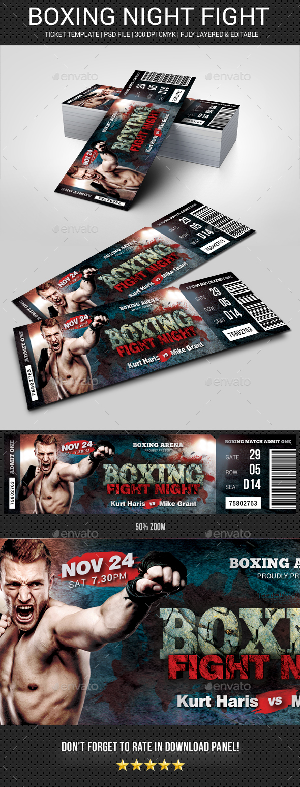 Boxing Ticket - Cards & Invites Print Templates
