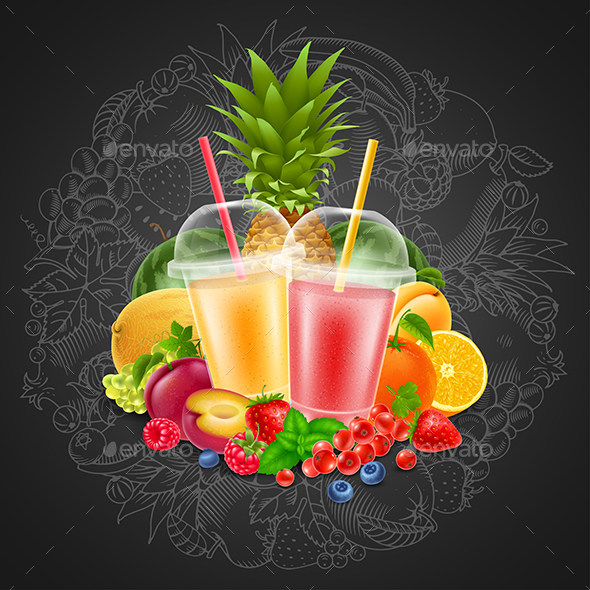 Fruits and Berries Smoothie Drink - Food Objects