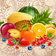 Fruits and Berries on Grunge Background - GraphicRiver Item for Sale