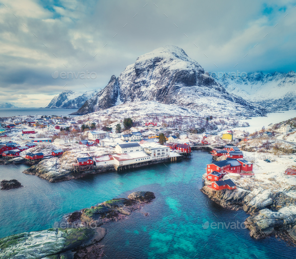 Aerial view of small village on the mountain in winter - Stock Photo - Images