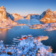 Aerial view of Reine at sunrise in winter in Norway. Top view - PhotoDune Item for Sale
