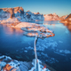 Aerial view of bridge over the sea and snowy mountains in Norway - PhotoDune Item for Sale