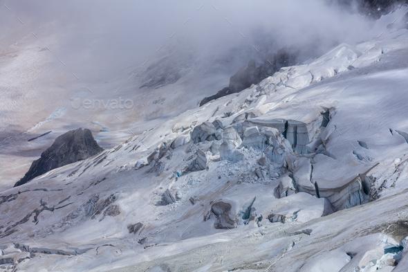 Glacier des Rognons. Mont Blanc, France - Stock Photo - Images