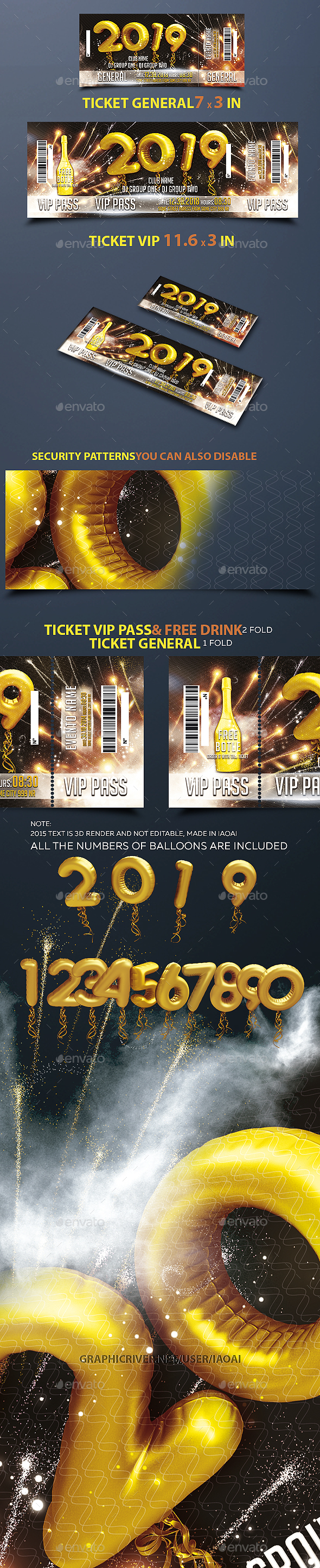 Ticket Happy New Year - Cards & Invites Print Templates