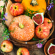 Autumnal colorful  pumpkins, apples and figs  on rustic backgrou - PhotoDune Item for Sale