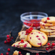 Fresh homemade cookies with red currants on dark background - PhotoDune Item for Sale