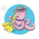 Octopus Plays Saxophone Vector - GraphicRiver Item for Sale