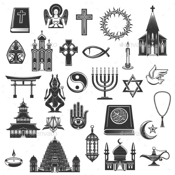 World Religions Vector Symbols and Signs - Religion Conceptual