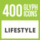 400 Lifestyle Glyph Inverted Icons - GraphicRiver Item for Sale