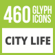 460 City Life Glyph Inverted Icons - GraphicRiver Item for Sale